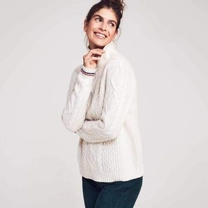 Wool and Cashmere Cream Cable Knit Sweater
